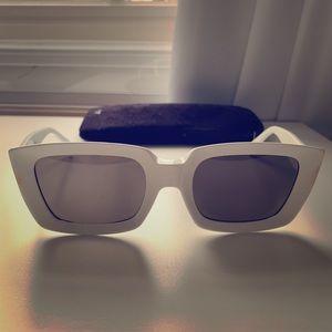 White modern Celine rectangular sunglasses.